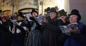 Caroling on the Church Steps