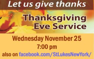 Thanksgiving Eve Worship Service